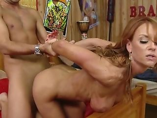 Matures Red-haired In Dark-skinned High-tide Top And Milky Cut-offs...