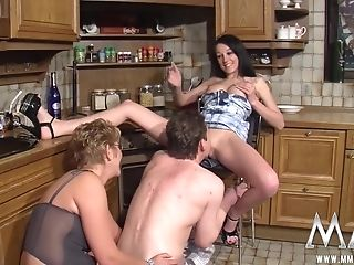 Dark-haired Bitch Playing With Her Slit Watching A Dude Treating...