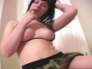 Inked Adult Lady With Perky Breasts Masturbates Her Horny Humid Slit.