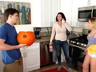 Stepbrother Fucks Stepsister Next To His Mom