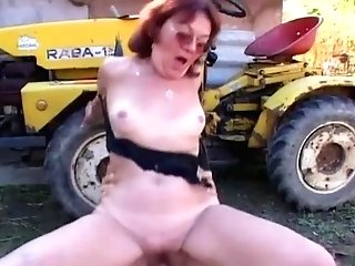 Granny Takes Youthful Dick Outdoor