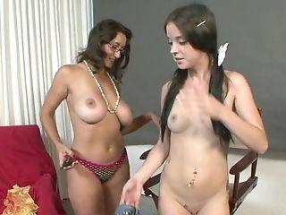 Girly-girl Mom And Ponytailed Teenage Dame