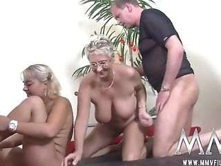 Blonde Bbw And Brief-haired Matures In Glasses Get Involved Into Orgy