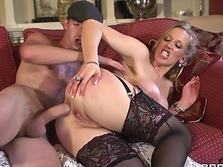 Matures Blonde In Black Garter, Stockings And High-heeled Slippers...