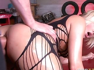 Blonde In Striped Undergarments Does Assfuck In The Garage