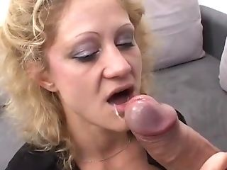 Curly Haired Blonde In A Black Boulder-holder And Nylons Gets A...