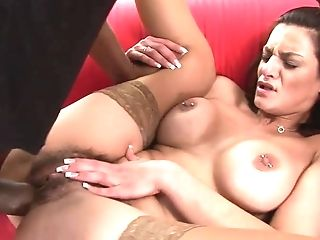 Big-titted Stunner In Stockings Spreads Her Gams And Gets Crammed...