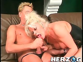 Stunning Blonde Cougar With Phat Hooters Bj's A Meatpipe And...