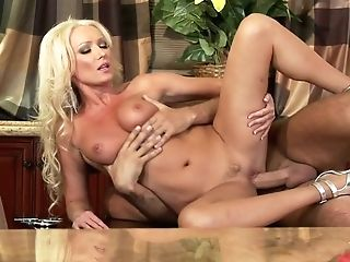 Engaging Blonde With Big Jugs Wearing Silver High-heeled Shoes Gets...