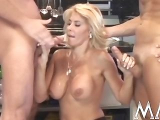 Gorgeous Blonde Bombshell In Black Stockings Takes Facial Cumshot...