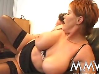 Crimson Bbw In Nylons Takes Facial Cumshot After Xxx Gang-bang With...