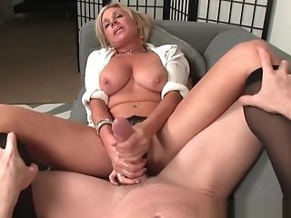 Huge-titted Cougar Jerking Hard Dick Until Pop-shot