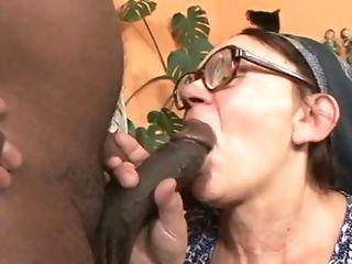 Grandam In Glasses Taking Off Her Blue Sundress And Exposing Black...