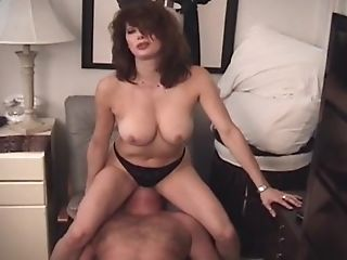 Dark Haired Mom In Black Underwear Saddling Her Tethered Worshiper...