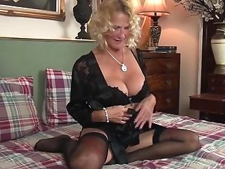 Non-traditional Blonde Matures Mom Smacks Butt In Couch Before...