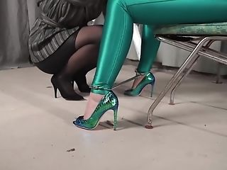 Bodacious Blonde Woman In Green, Spandex Pantyhose Is Getting Tied...