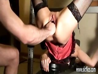 Fiercely knuckle fucked inexperienced wifey