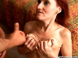 Skinny mature redhead loves to fuck and the taste of jism