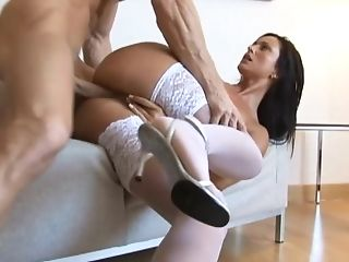 Beauty In Milky Lace-top Stockings Gets A Fantastic Shag In The...