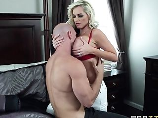 Blonde In A Crimson Brassiere Is On The Receiving End Of A Rough...