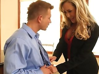 Whorey Blonde Manager In Sexy Biz Suit Displaying Her Crimson...