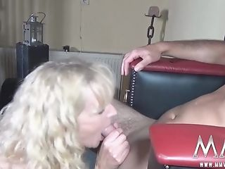 Lengthy-haired Curly Blonde Drops To Her Knees For A Fellatio