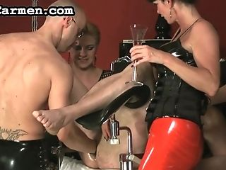 Gimp In Spandex Mask Gets His Pooper Crammed With Liquid And Toyed...