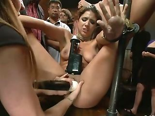 Restrained Dark Haired Woman With Pins On Tits Gets Taunted And...