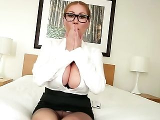 Awesome Dark-haired Momma Uses Both Her Forearms And Large Tits To...