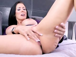 Brown-haired Cougar Is Playing With Her Big Tits And Kneading That...