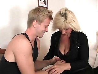 He Helps Old Matures Blonde Woman