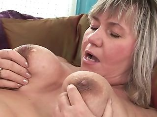 Round Granny Touching Her Big Titties While Dark Haired Dark-haired...