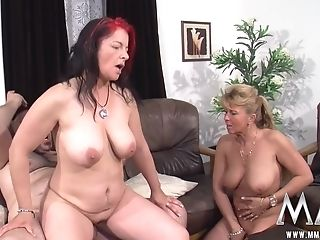 Ponytailed Bitch Taking Part In Threesome With Dark Haired Pierced...