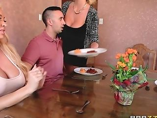 Two Blonde Bi-otches Get Naked And Treat A Gent To A Hot Threeway...
