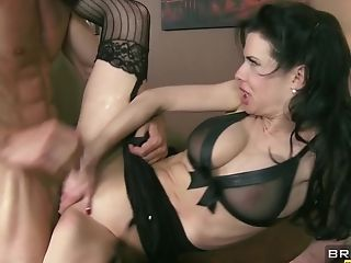 Huge-boobed Assistant With Crimson Lips Adores Buttfuck Tonguing