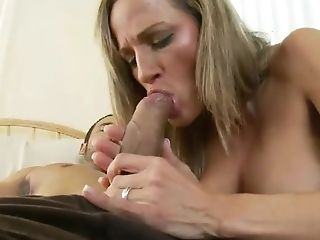 Sexy Housewife In Purple Top And Beige Cut-offs Gives Her Spouse A...