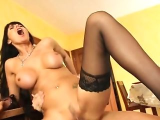 Euro Dark-haired In Black Stockings Needs A Big Dick In Her Bung...