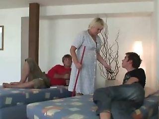 The Granny Mega-slut Cleans The