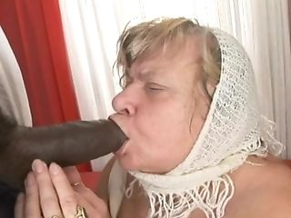 Matures Plus-size Lets Black Boy In Milky Gown Undress Her And...