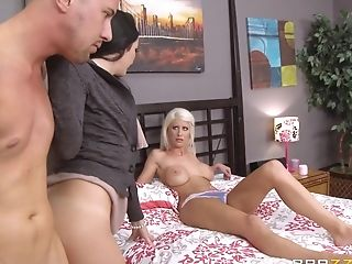 Huge-titted Blonde In Milky Underpants Gets Tied To Sofa As Man And...
