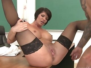 Pierced Matures In Sexy Black Lace Stockings Is Used By Her Horny...