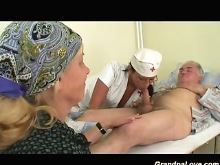 The Nurse Bj's The Old Man's Dick In Front Of His Wifey...