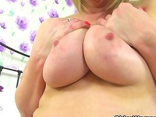Brit Cougar April Touches Her Very Taut Cunt