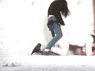 Woman In Jeans Pegging And Sucking Stud With Belt Dick