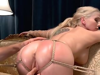 Spouse Fucktoys Big-titted Wifey In Strap Tying