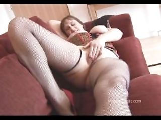 Huge-titted mature brown-haired with hairy slit strips and spreads