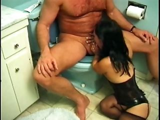 Bald dude munches gartered brunette's honeypot then she lowers...