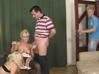 His Lovely Blonde Lady Involved Into Family 3some