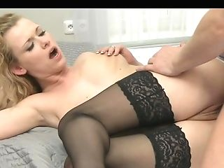 This Lusty Cougar With Curly Blonde Hair Loves How His Big Dick...