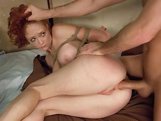 Ginger-haired Porn Industry Star Gets Tied Up And Bum-fucked So Well
